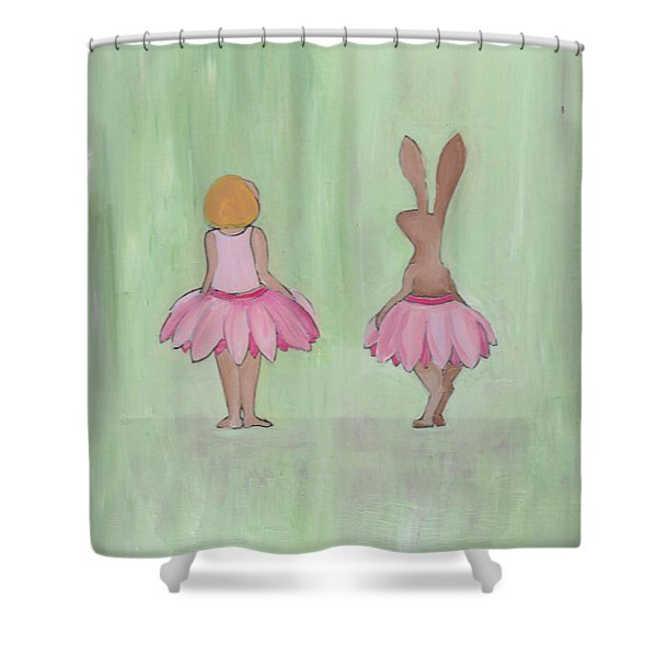 Girl And Bunny In Pink Tutus Shower Curtain