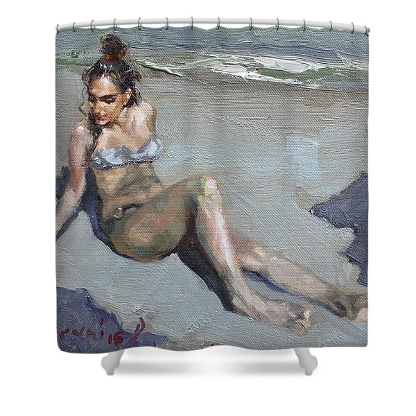 Girl At The Beach  Shower Curtain