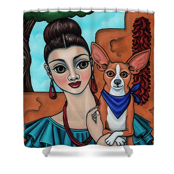 Girl Holding Chihuahua Art Dog Painting  Shower Curtain