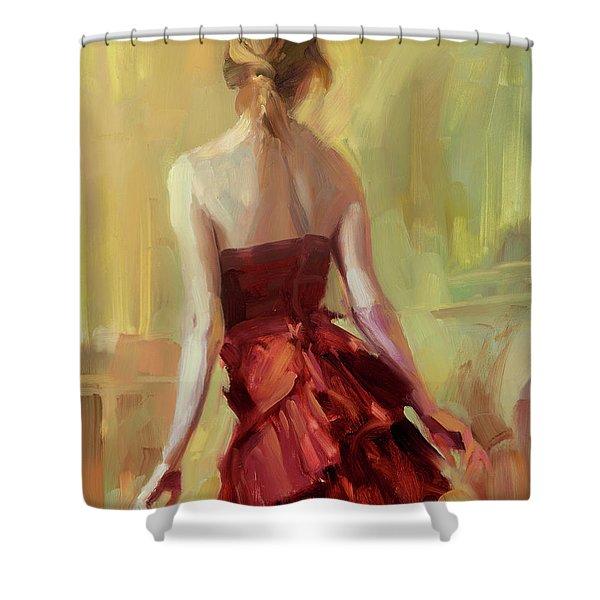 Girl In A Copper Dress I Shower Curtain