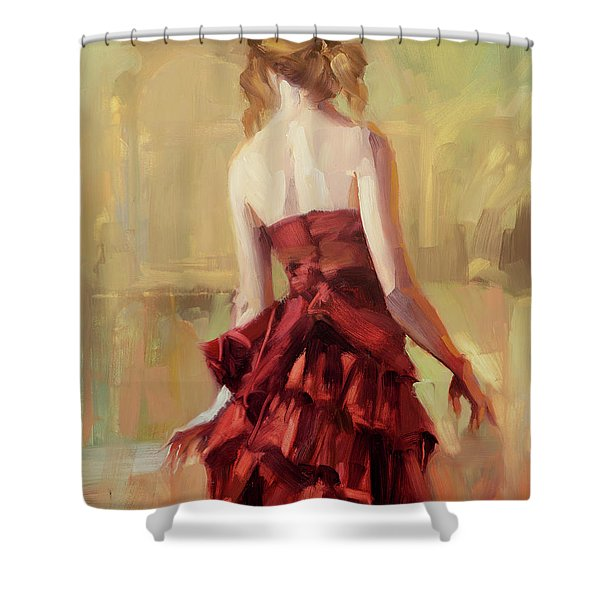 Girl In A Copper Dress II Shower Curtain