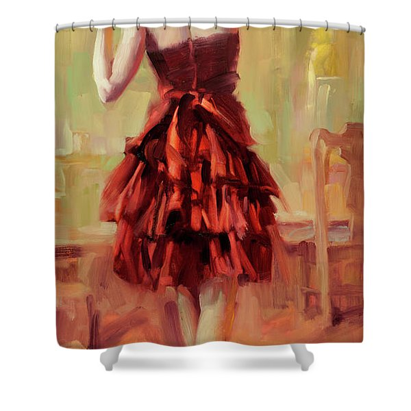 Girl In A Copper Dress IIi Shower Curtain