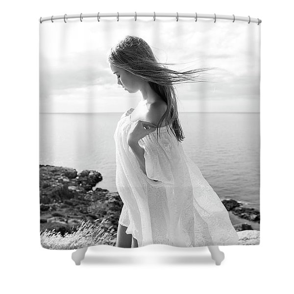 Girl In A White Dress By The Sea Shower Curtain