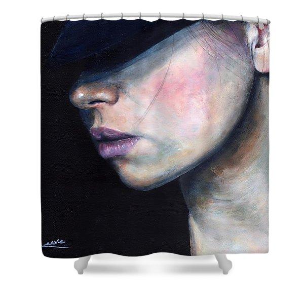 Girl In Black Hat Shower Curtain