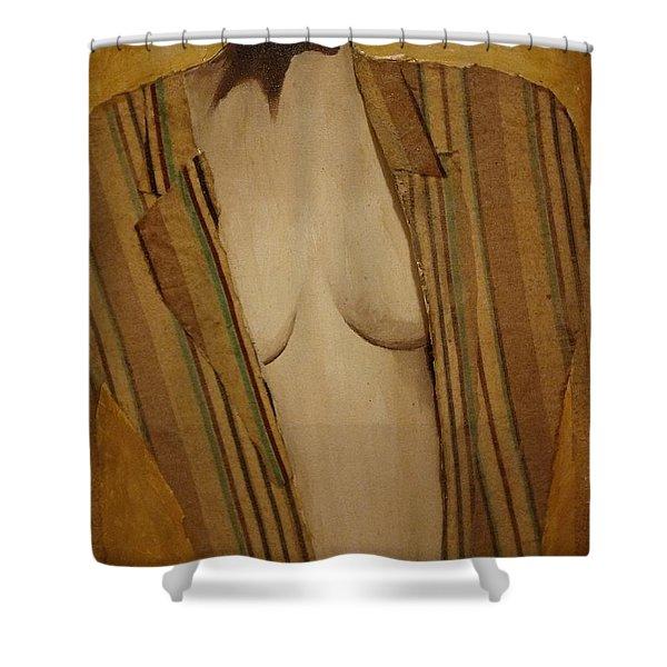 Girl In Man's Shirt Shower Curtain