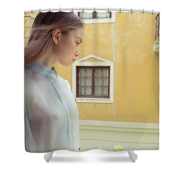 Girl In Profile Shower Curtain