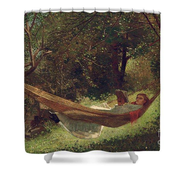 Girl In The Hammock Shower Curtain