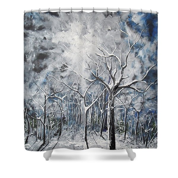 Girl In The Woods Shower Curtain
