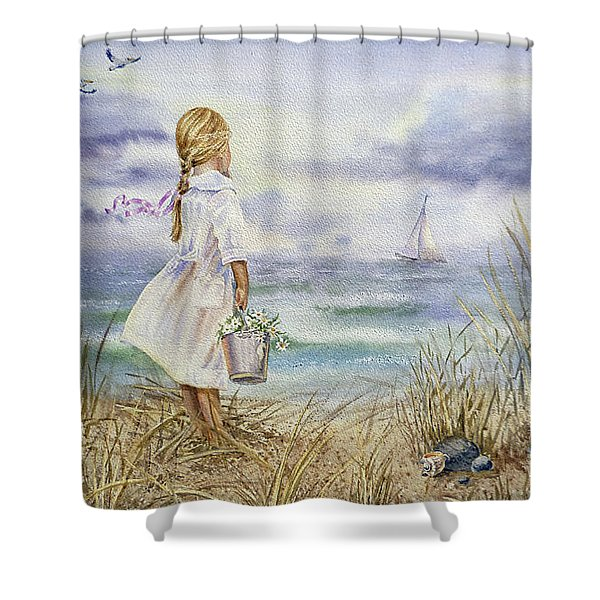 Girl And Ocean Watercolor Shower Curtain