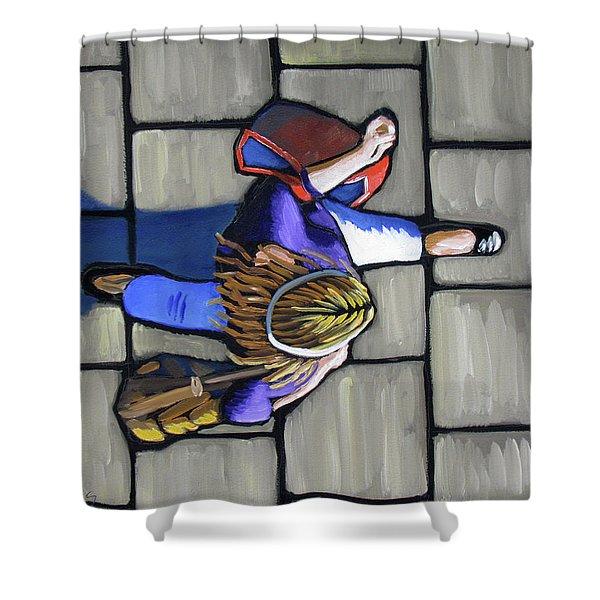 Girl Overhead Walking Shower Curtain