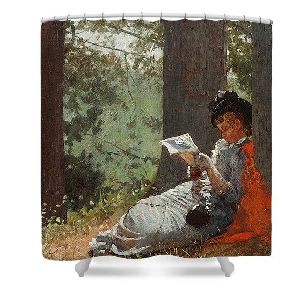 Girl Reading Under An Oak Tree Shower Curtain