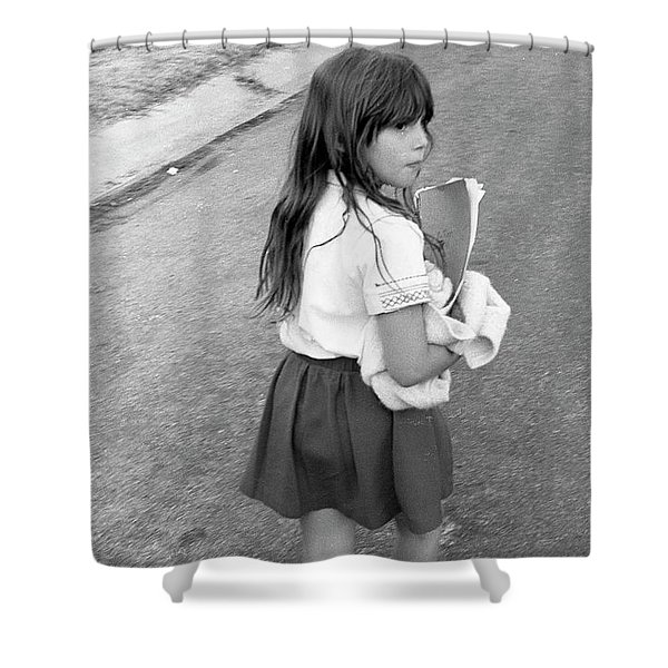Girl Returns Home From School, 1971 Shower Curtain