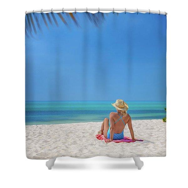 Girl Sunbathing On Beach Shower Curtain
