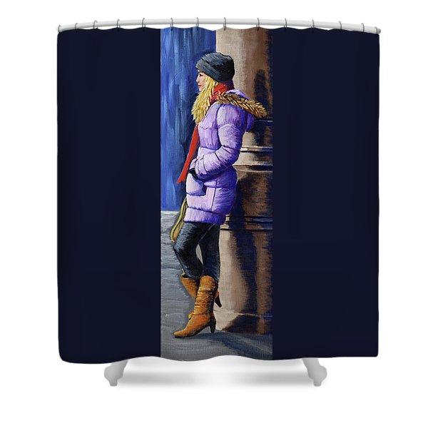 Girl Waiting Shower Curtain
