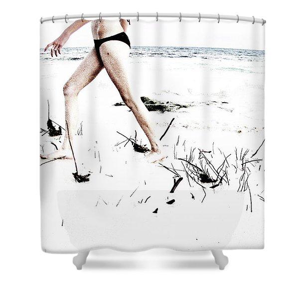 Girl Walking On Beach Shower Curtain