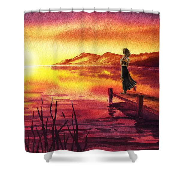 Girl Watching Sunset At The Lake Shower Curtain