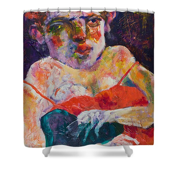 Girl With A Cigarette Shower Curtain