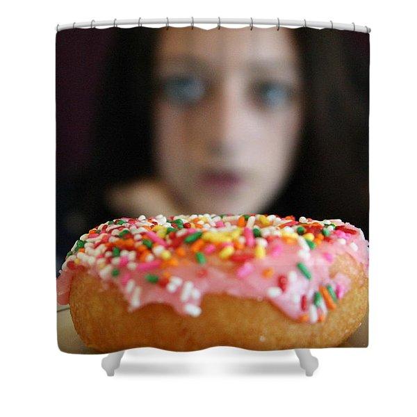 Girl With Doughnut Shower Curtain