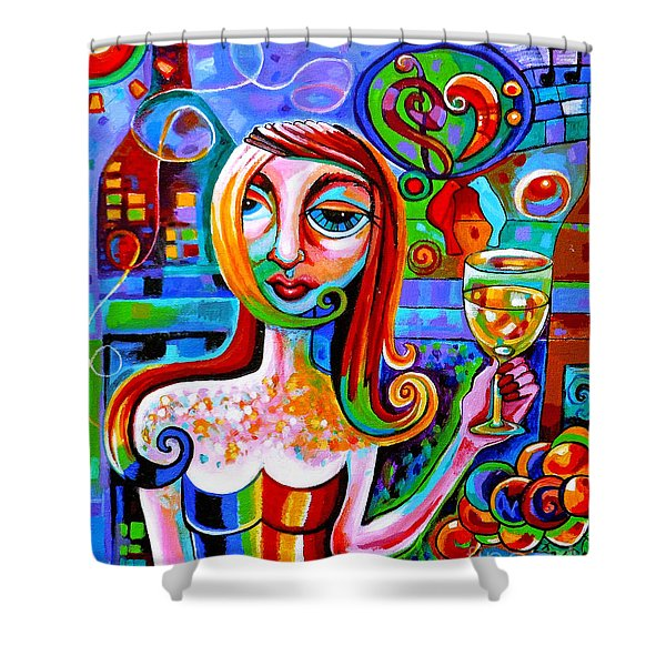 Girl With Glass Of Chardonnay Shower Curtain
