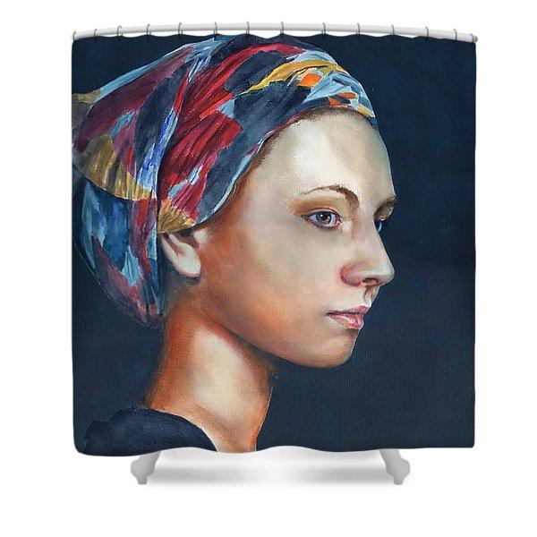 Girl With Headscarf Shower Curtain