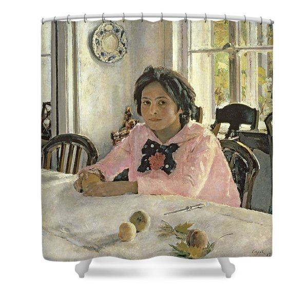 Girl With Peaches Shower Curtain