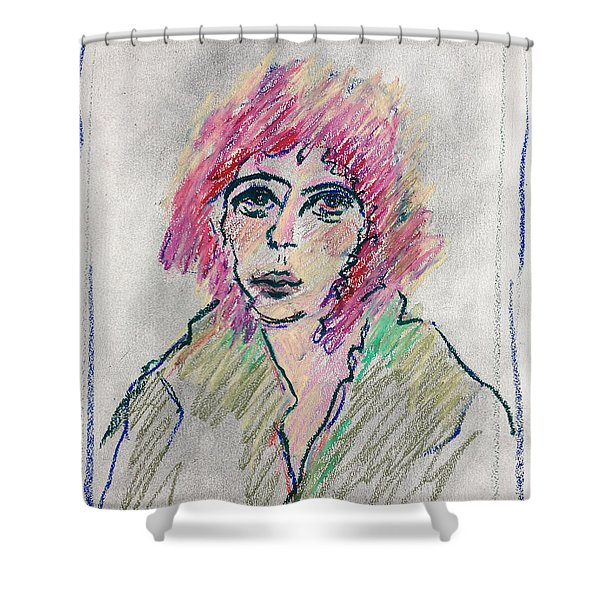 Girl With Pink Hair  Shower Curtain