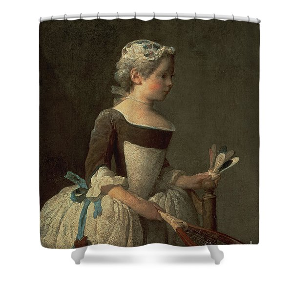 Girl With Racket And Shuttlecock Shower Curtain