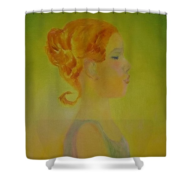 The Girl With The Curl Shower Curtain