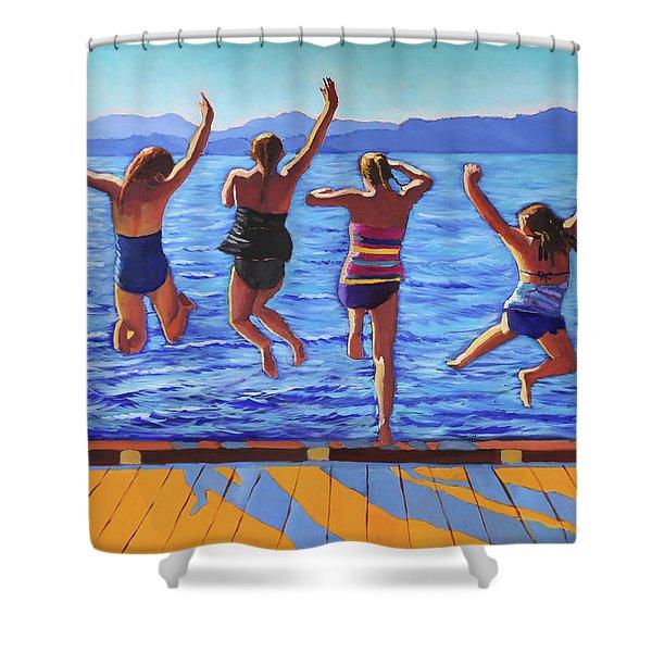 Girls Jumping Shower Curtain