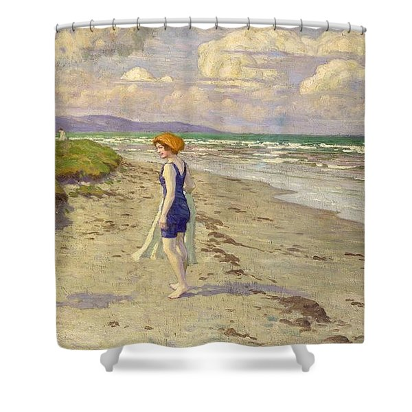 Girls Preparing To Bathe On The Beach Shower Curtain