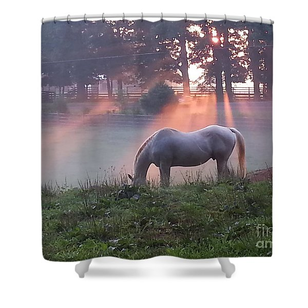 Gitchie And The Sunrise Shower Curtain