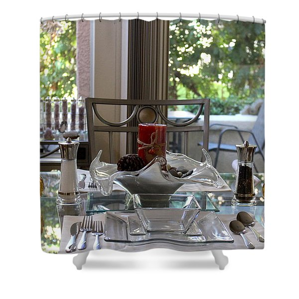 Giving Thanks In California Thanksgiving Table Shower Curtain