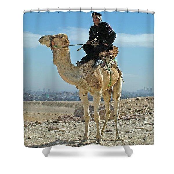 Giza Pyramids Camel Tourist Police Shower Curtain