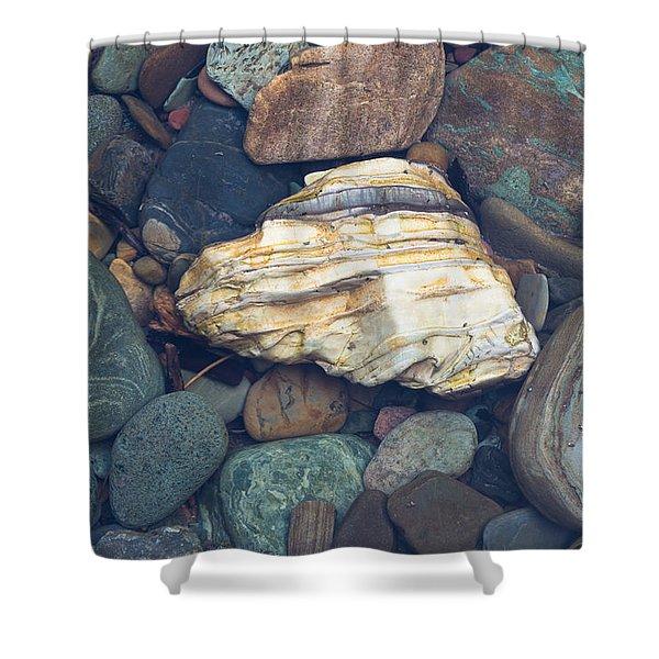 Glacier Park Creek Stones Submerged Shower Curtain