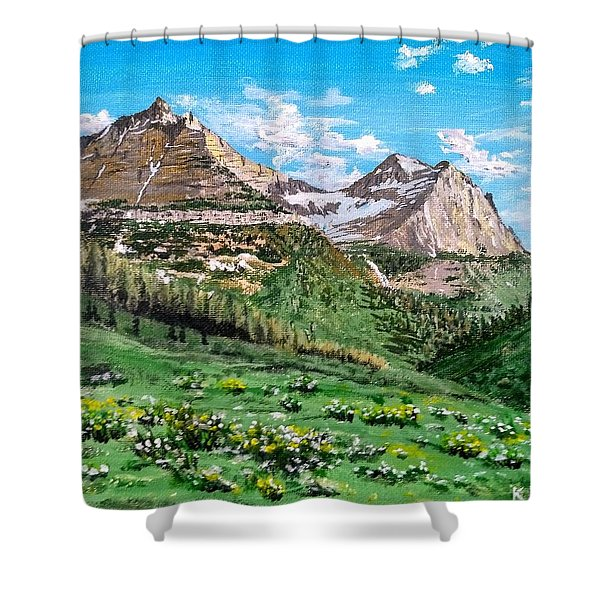Shower Curtain featuring the painting Glacier Summer by Kevin Daly
