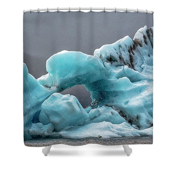 Shower Curtain featuring the photograph Glacier With Hole by Tom Singleton