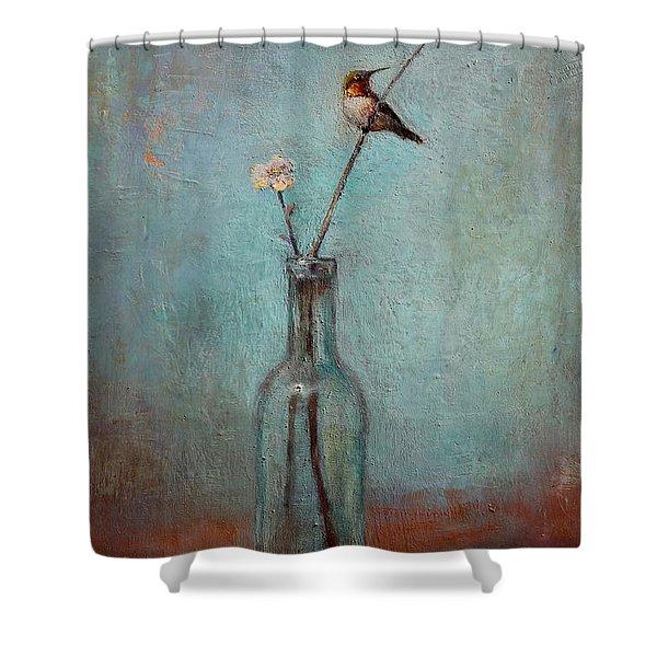 Glass Bottle And Hummingbird Shower Curtain