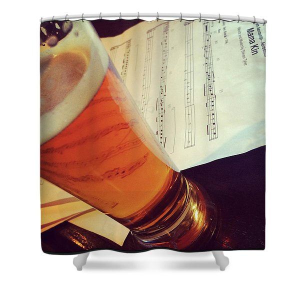 Glass Of Beer And Music Notes Shower Curtain