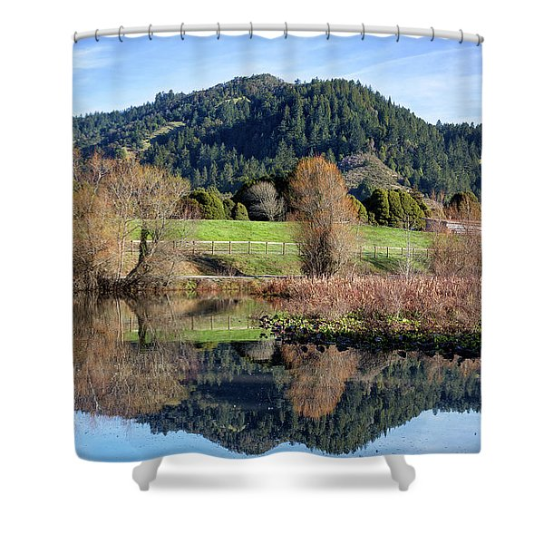 Glassy Mountain Reflections Shower Curtain