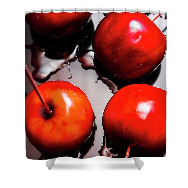 Gleaming Red Candy Apples Shower Curtain