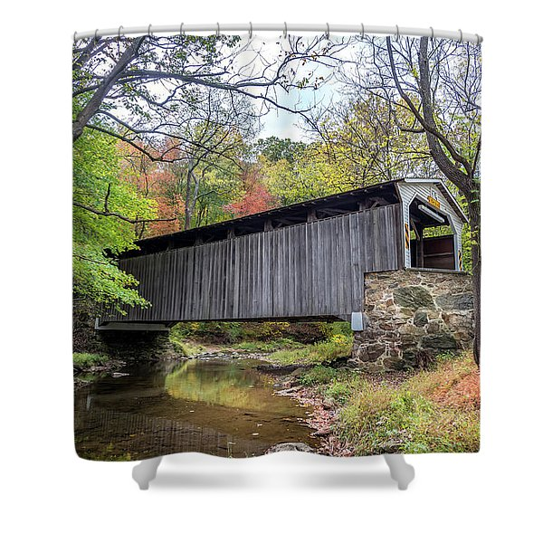 Glen Hope Covered Brige During Autumn Shower Curtain