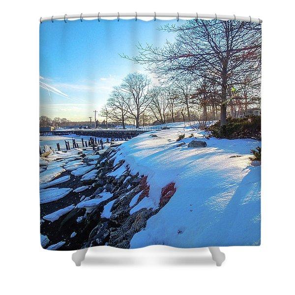 Glen Island Snowfall Shower Curtain