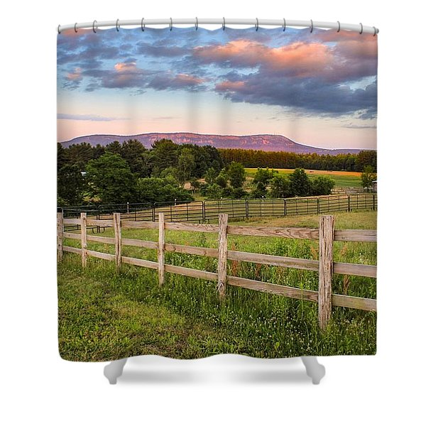 Shower Curtain featuring the photograph Glendale Road View Of Mount Tom by Sven Kielhorn