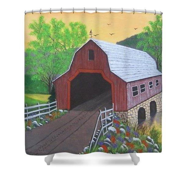 Glenda's Covered Bridge Shower Curtain