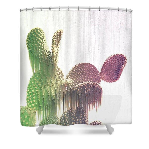 Glitch Cactus Shower Curtain