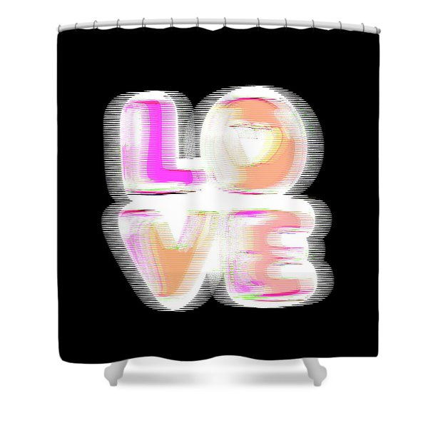 Shower Curtain featuring the digital art Glitch In Black by Bee-Bee Deigner