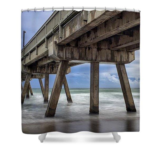 Gloomy Pier Shower Curtain