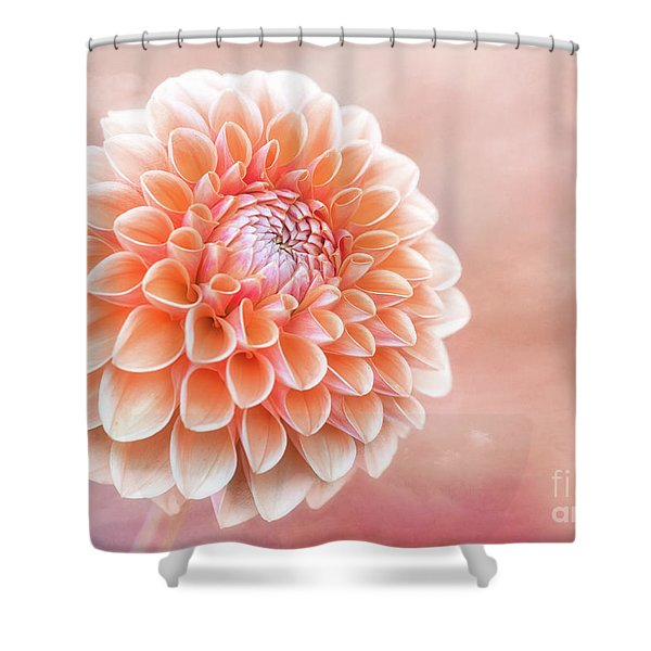 Glorious Salmon Dahlia Shower Curtain