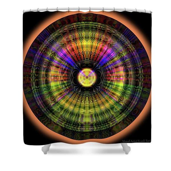 Shower Curtain featuring the digital art Glow Wheel Eight by Visual Artist Frank Bonilla