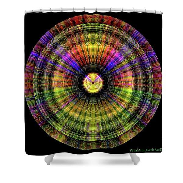 Shower Curtain featuring the digital art Glow Wheel One by Visual Artist Frank Bonilla